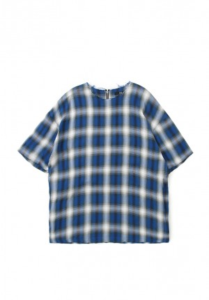 OMBRE CHECK ZIP TEE SHIRTS