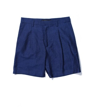 LINEN PLEATED SHORT TROUSERS( IMPORT FABRIC)
