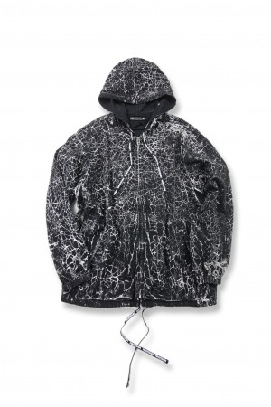 Denim Crack Hooded Parka