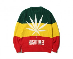 HIGHTIMES × WACKO MARIA RASTA STRIPED CREW NECK SWEATER