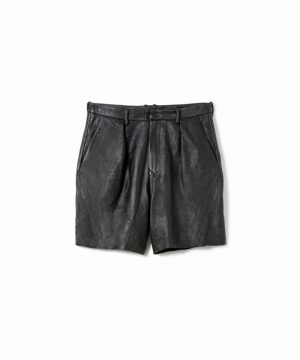 Washed Tuck Leather Shorts