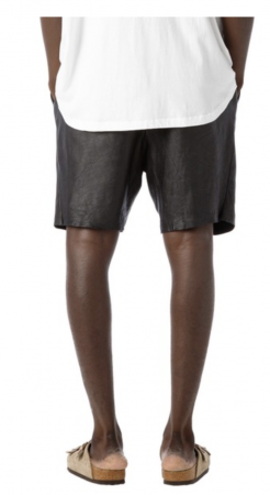 Washed Tuck Leather Shorts