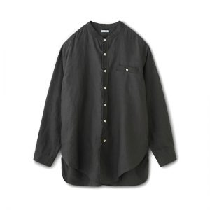 LINEN BAND COLLAR LONG SHIRT