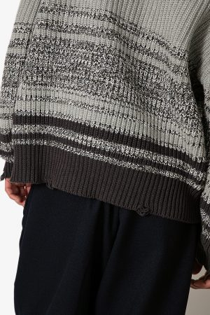 MIX WOVEN BORDER PHAT SWEATER